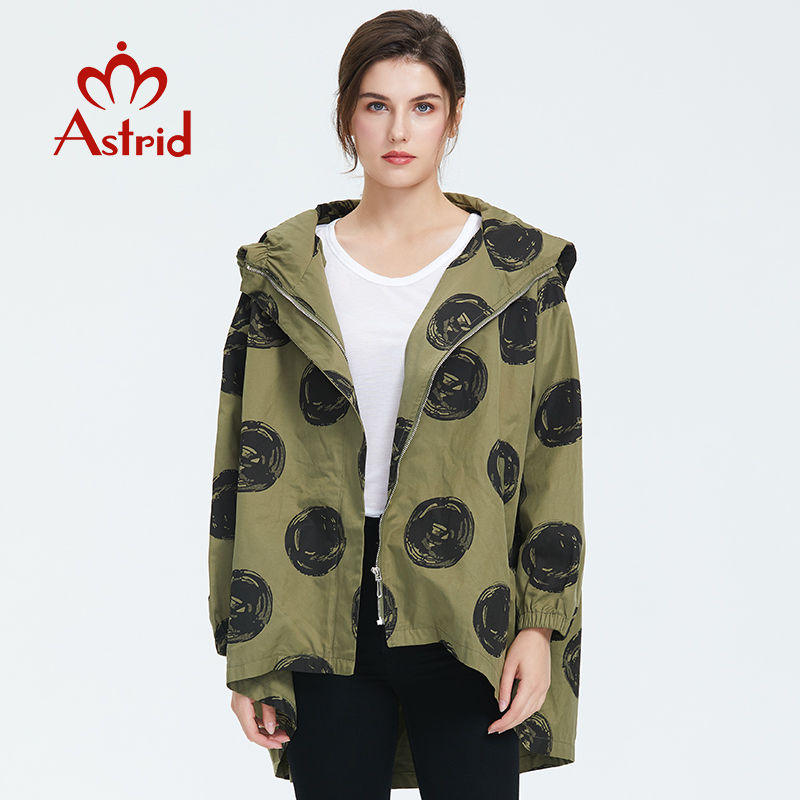 Astrid 2019 Autumn New Arrival Quality Trench Coat Women With A Hood Top Green Color Womens Tops Blouses Short Trench Coat AM02D