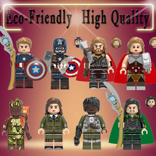 legoed Super Heroes Tree Man Thor Steve Rogers Jane Foster Loki Building Blocks Bricks action Figures children Gift Toys X0273(China)