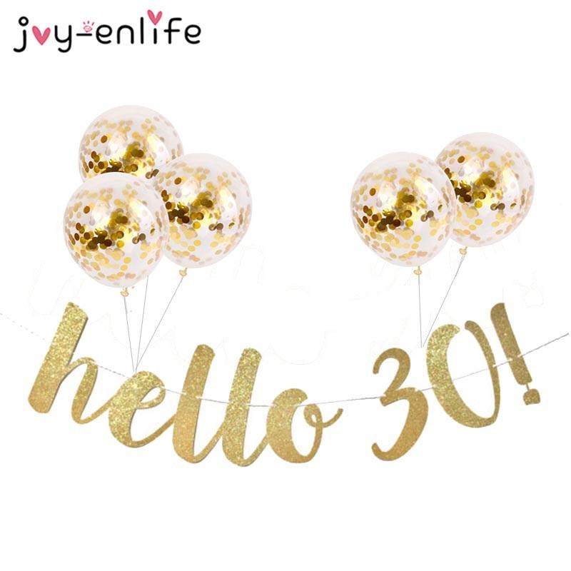 30 40 50 60th anos decoração de aniversário ouro glitter papel banner garland confetes balão 30th aniversário decorações adulto