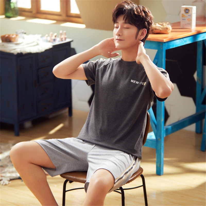 Men's 2020 Summer New Korean Cotton Letter Pajamas Comfortable Casual Short Sleeve Shorts Thin Set Men's Pajamas Two-Piece Set