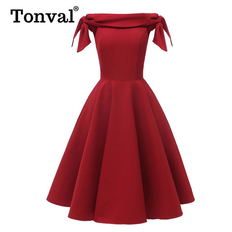 Tonval Tie Sleeve Fit and Flare Vintage Party Night Red Swing <font><b>Dress</b></font> Women Going Out Elegant Off Shoulder Glamorous <font><b>Sexy</b></font> <font><b>Dresses</b></font> image