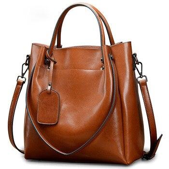 Women Handbags Luxury Designer 2019 Oil Wax Split Leather Handbag Women Shoulder Messenger Bag Ladies Portable Big Bag