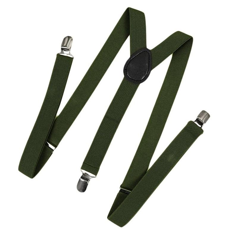 Unisex Clip On Suspender Elastic Y-Shape Back Formal Adjustable Braces, Army Green