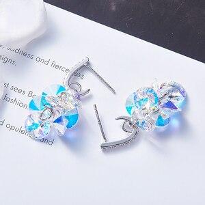 Image 5 - MALANDA New 925 Sterling Silver Long Drop Earrings Crystal From Swarovski Dangle Earrings For Women Luxury Personality Jewelry