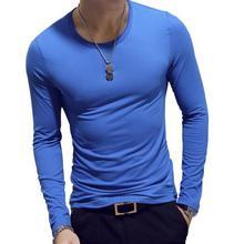 3 шт., мужские рубашки, весна, мужская Тонкая футболка с длинным рукавом и круглым вырезом, Повседневная однотонная мужская рубашка, футболки, хлопковая футболка, топ 3XL