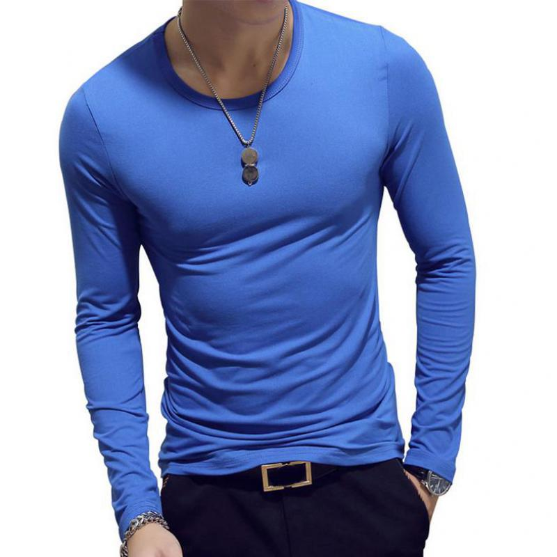 3 Pieces Men Shirts Spring 2019 Men Long Sleeve O Collar Slim T-shirt Casual Solid Mens Shirt Tshirts Cotton T-shirt Top 3XL