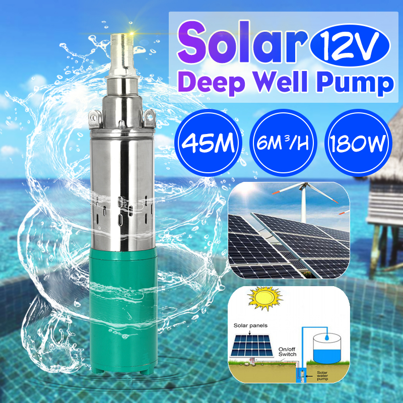 Hiigh Lift 12V 45m Solar Water Pump 180W 6000L/h Deep Well Pump DC Screw Submersible Pump Irrigation Garden Home Agricultural