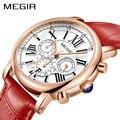 MEGIR Роскошные Лидирующий бренд женские красные часы Элегантные классические женские часы из натуральной кожи женские кварцевые часы короб...