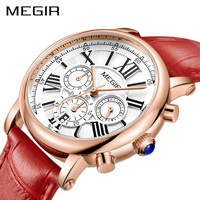 MEGIR Luxury Top Brand Women Red Watches Elegant Classic Female Clock Genuine Leather Girl Quartz Ladies Watch Clock Box