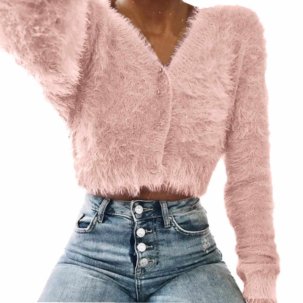 여성 캐주얼 스웨터 패션 v 넥 긴 소매 모피 자르기 여성 탑 니트 짧은 카디건 아웃웨어 겨울 당겨 femme nouveaute