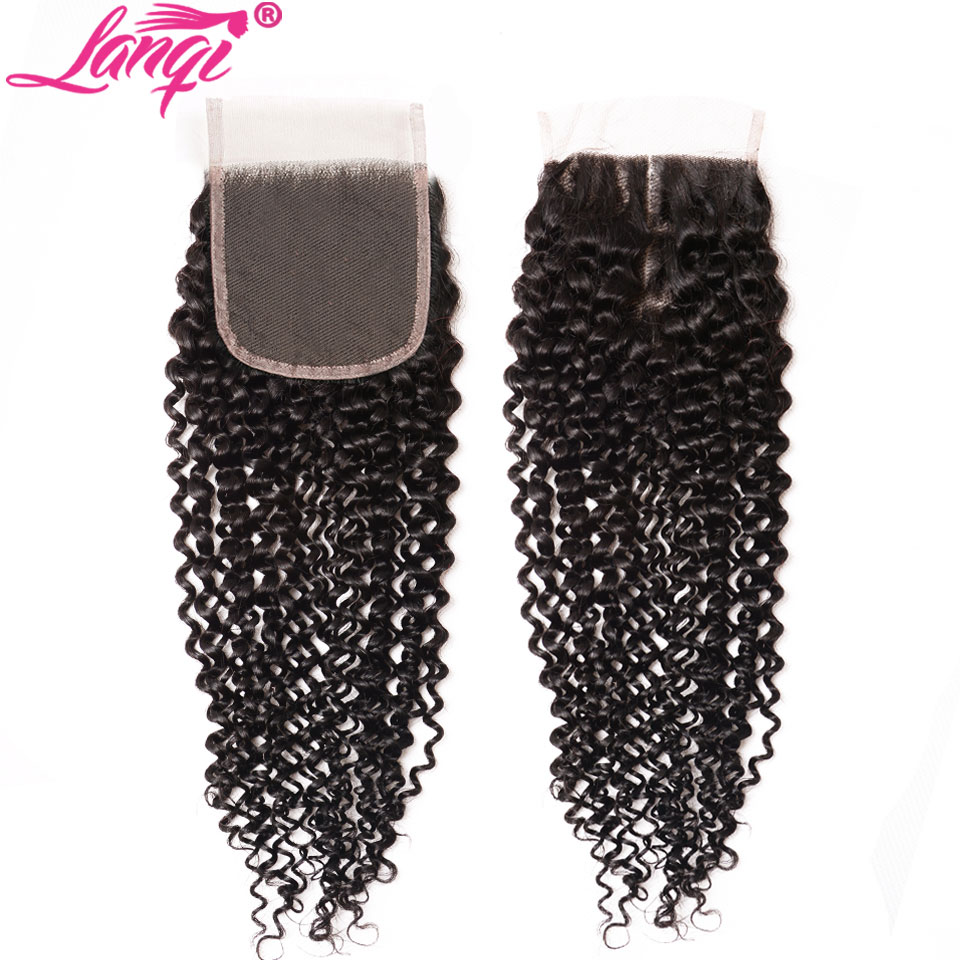 Mongolian Afro Kinky Curly Hair Lace Closure Free Middle Three Part Non Remy 100% Human Hair Weaving 4x4 Swiss Lace Top Closure