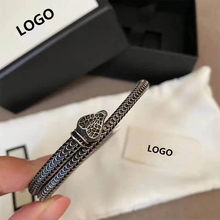 New style 925 sterling silver European and American retro rattlesnake shape bracelet original charm men and women holiday gifts