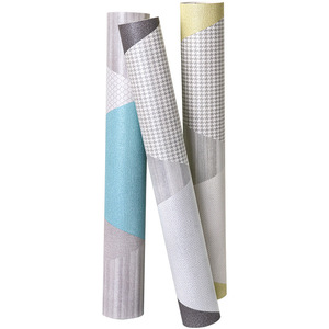 Image 5 - New Fashion Geometric Abstraction Wallpaper Roll Color Plaid Wall Paper PVC Waterproof Bedroom Living Room Wall
