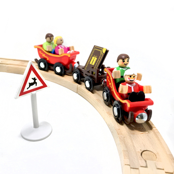 9pcs/set Christmas wooden magnetic train compatible with wooden rail car train Santa trolley children early education puzzle toy zhenwei magnetic thomas train wooden track car children s puzzle early learning toy cake decoration diecast train action figure