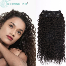 Curly Clip On Hair Extension Long Glueless Deep Wave Natural Color Black Brown 28Inch