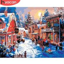 HUACAN живопись по номерам Рождественский пейзаж рисунок на холсте Ручная роспись зимние художественные наборы DIY подарок украшение дома