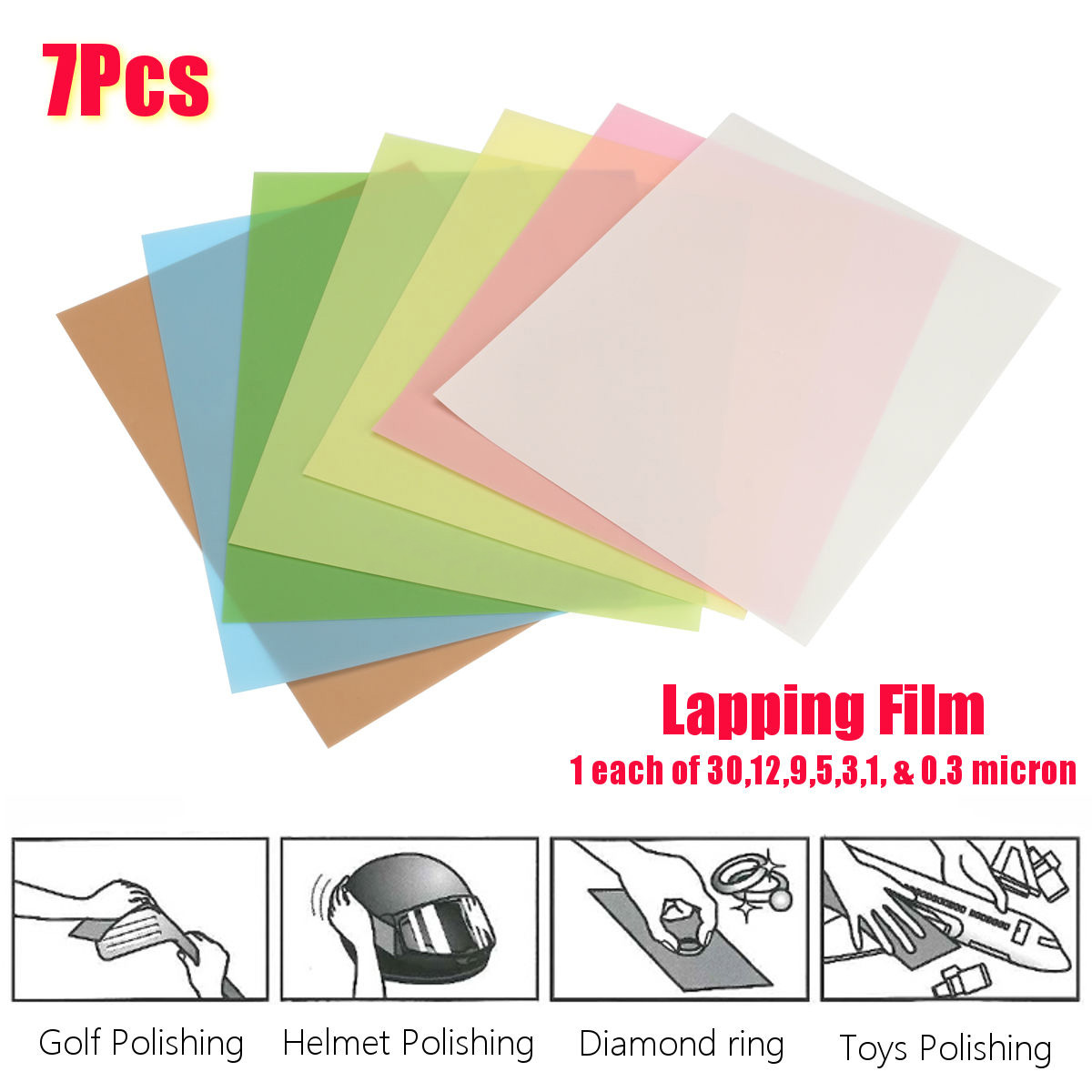 7PCS 8.7'' X 11'' Lapping Film Sheets 1 Each Of 30,12,9,5,3,1, & 0.3 Upport Wholesale Tools Parts