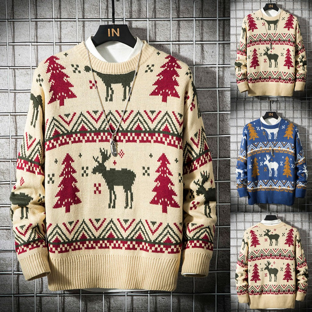 Men's Christmas Sweater Fashionable New Snow Flower Print Round Neck Blouse Dropshipping Fashion Work Clothes Winter Selling 202