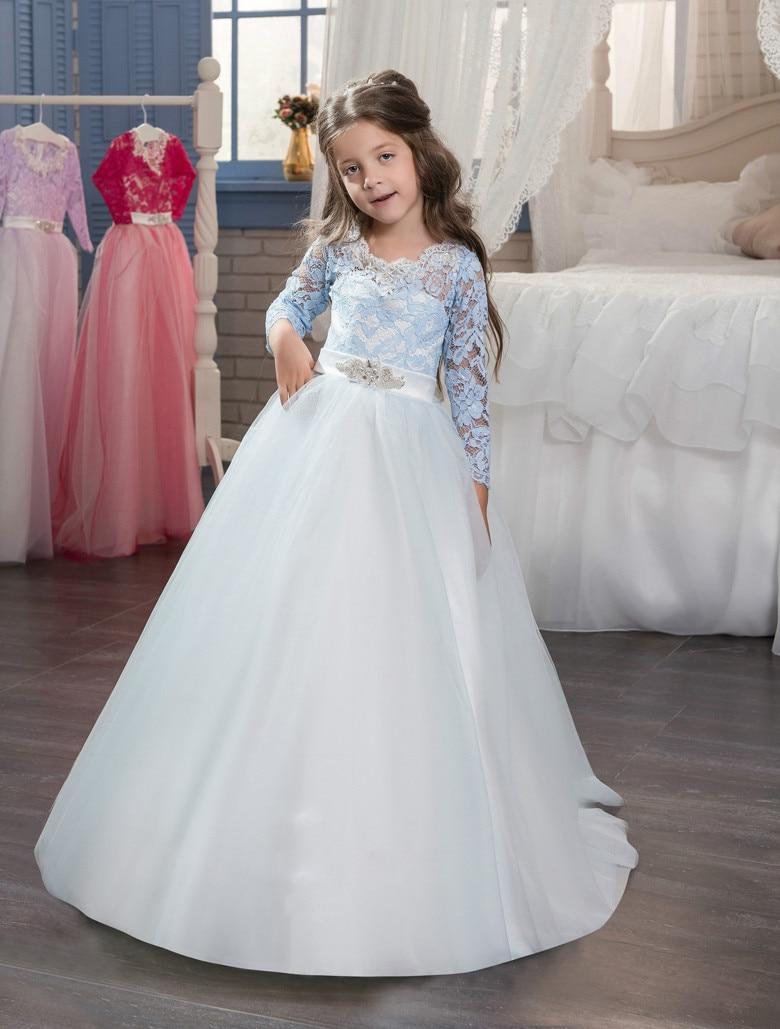 3/4 Sleeves 2019   Flower     Girl     Dresses   For Weddings Ball Gown Tulle Lace Beaded Bow Long First Communion   Dresses   Little   Girl