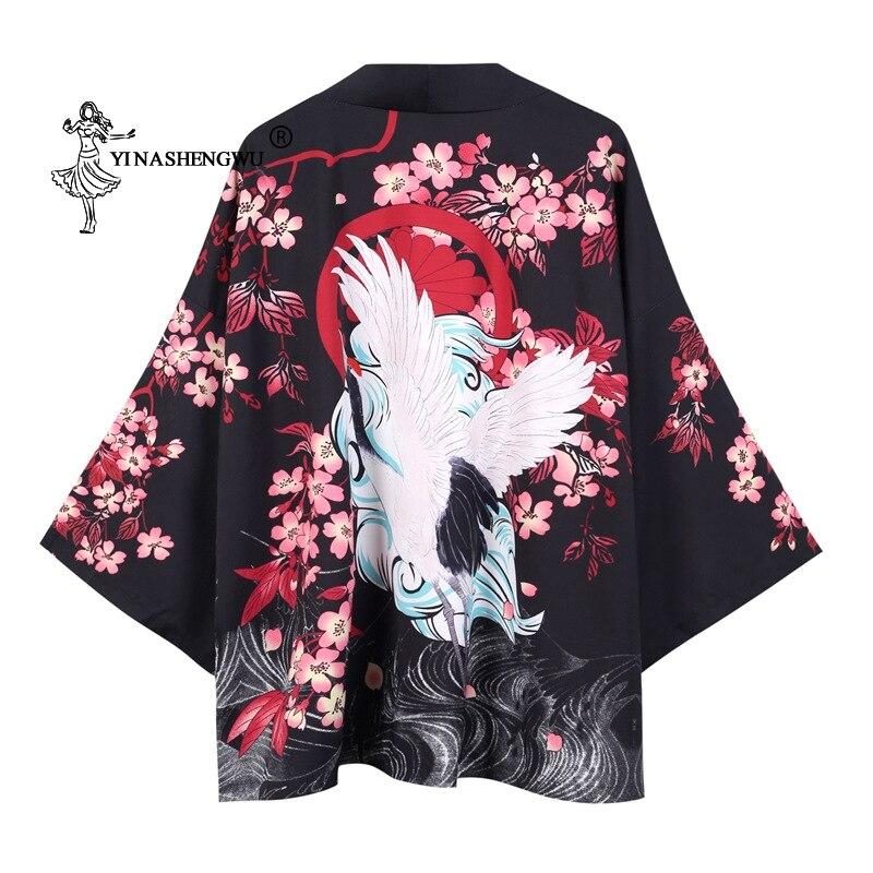 Yukata Women Japanese Kimono Traditional Summer Carp Print Loose Shirt Casual Coat Kimono Femme Kimono Cardigan Cosplay Costume