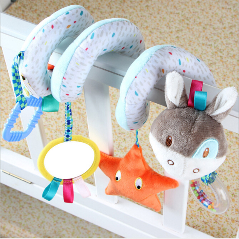 Carton Animals Baby Soft Toy Baby Stroller Toys Donkey Elephant Bed Around Babys Crib Bed Hanging Toy Educational Rattle
