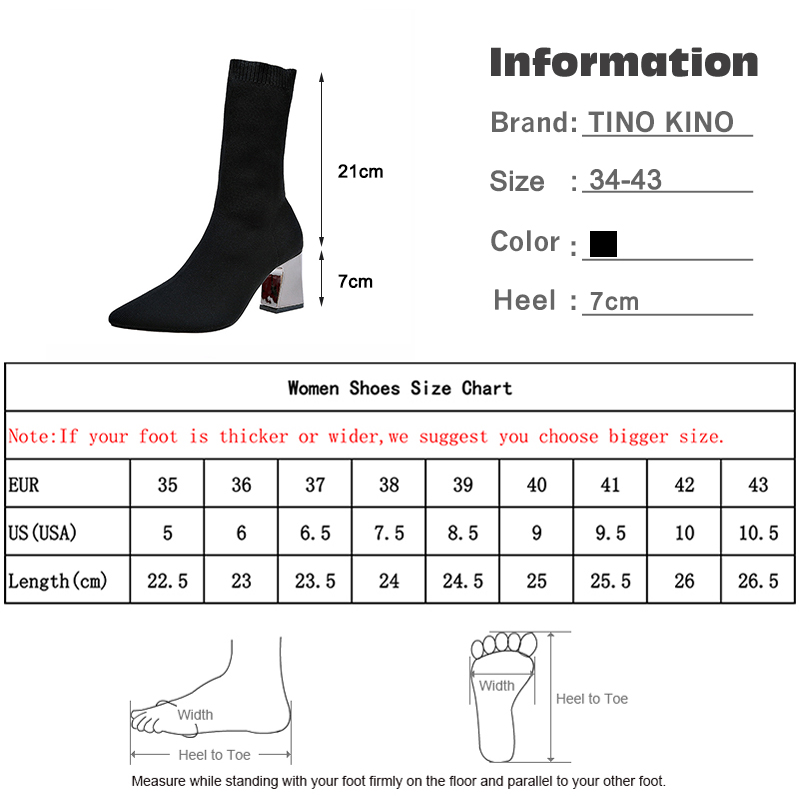 Image 5 - Women Ankle Boots Stretch Knitting Sock Boots Plus Size Pointed Toe Autumn Winter High Heels Female Slip On Lady Shoes-in Ankle Boots from Shoes