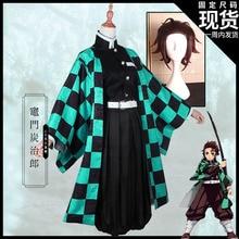 Anime! Demon Slayer: Kimetsu Geen Yaiba Kamado Tanjirou Kimono Gothic Uniform Cosplay Kostuum Halloween Pak Gratis Verzending