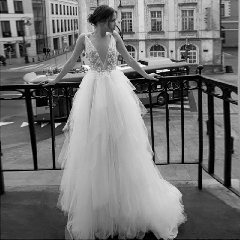 Verngo Flowers Wedding Dress Boho Lace Appliques Tulle Wedding Gowns 2020 V-neckline Bride Dress Elegant Robe De Mariee