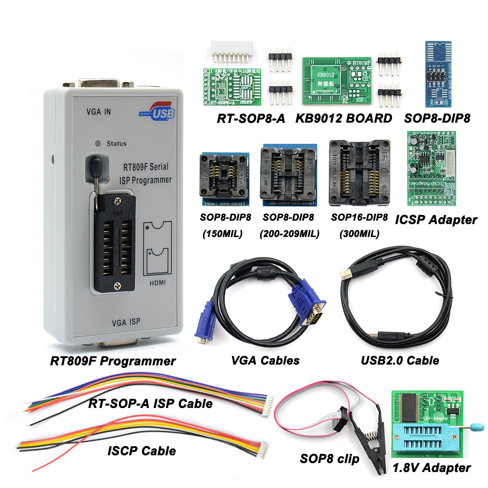 2020 Newest RT809F ISP Programmer + 11 Adapters 24-25-93 Serise IC Offline Board KB9012 + VGA LCD ISP Programmer RT809F