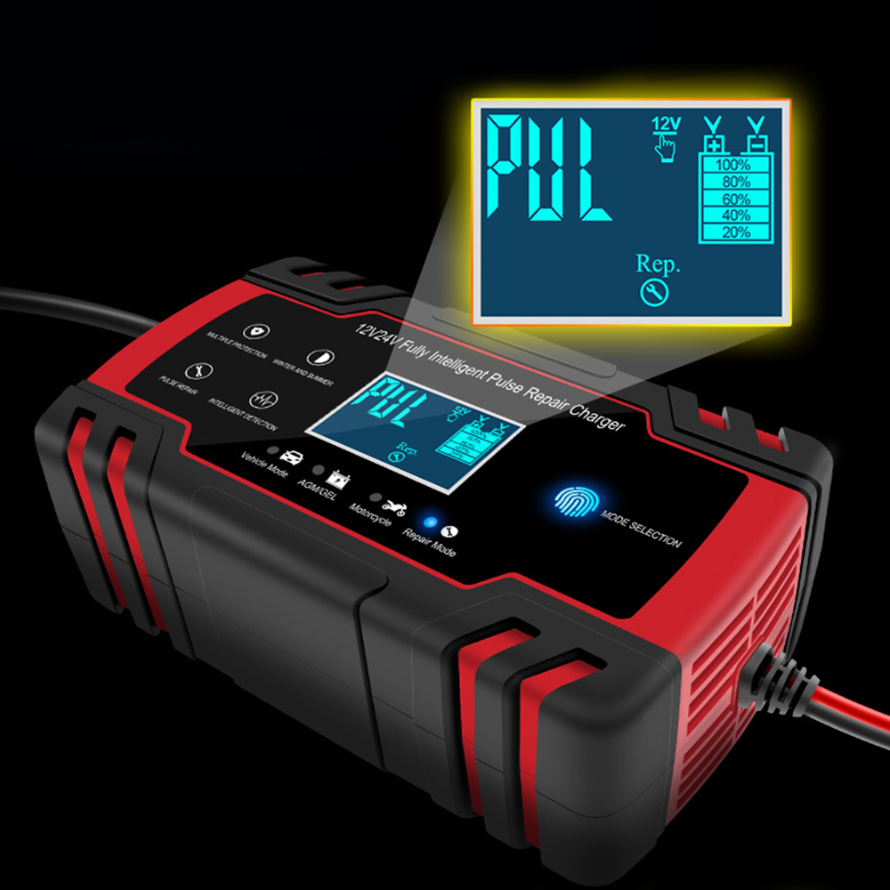 <font><b>Car</b></font> <font><b>Battery</b></font> Charger 12/24V 8A Touch Screen Pulse Repair Fast Power Charging Wet Dry Lead Acid Digital LCD Display image