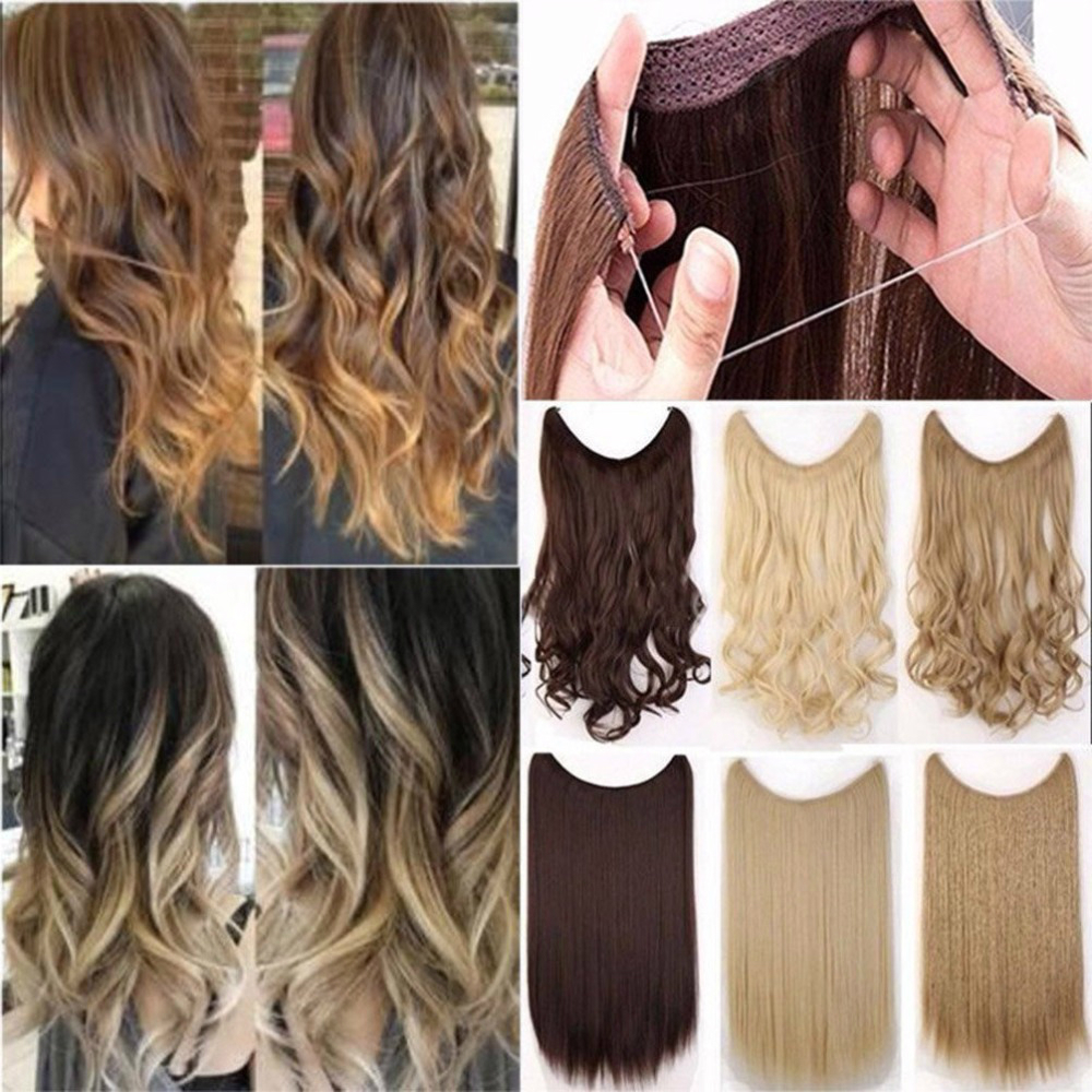 Buqiw ig 24 inches Women Fish Line Hair Extensions Black Brown Blonde Natural Wavy Long High Tempreture Fiber Synthetic Hairp
