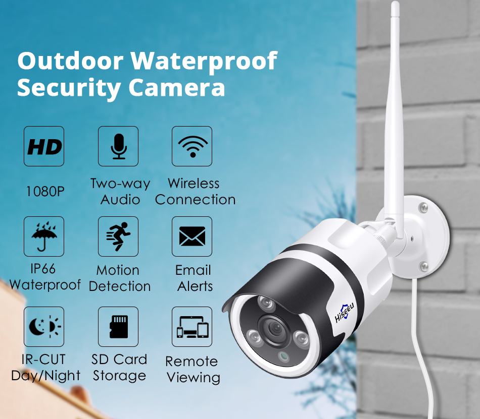 Hiseeu 2MP Wifi Waterproof Outdoor IP Security Camera 2