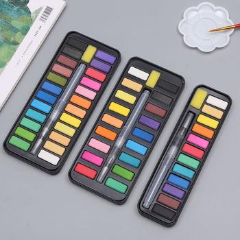 Aibelle 12 18 24 36 kolory stałe zestaw akwareli przenośny pędzel sztuka akrylowa materiały malarskie tanie i dobre opinie CN (pochodzenie) 6 lat 8 ml Water Color Paints Wodne farby w różnych kolorach Tin box Papier