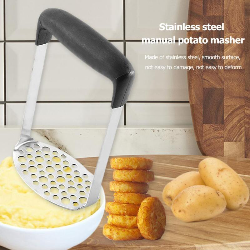 Manual Potato Mud Masher Stainless Steel Pressure Mud Puree Vegetable Fruit Press Maker Garlic Presser Kitchen Accessory