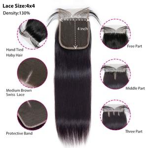 Image 3 - ストレートバンドルによる閉鎖 Meches Humaines Cheveux ペルー髪 3 バンドルと閉鎖 1/2 個レミーヘアエクステ