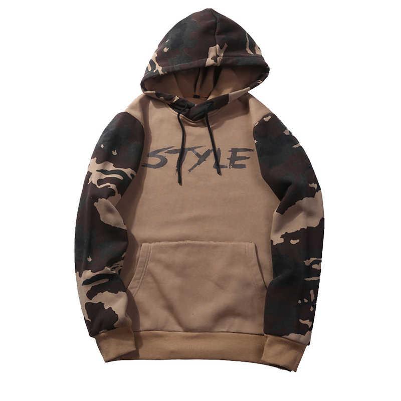 Fashion Pria Sweater Musim Gugur dan Musim Dingin Kamuflase Berkerudung Lengan Panjang Jaket Ukuran Besar Sweater CY263