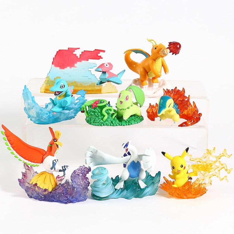 Anime Monsters Center Ho-Oh Charizard Totodile Chikorita Lugia Cyndaquil Porygon Desktop Figures Collectible Toys 8pcs/set