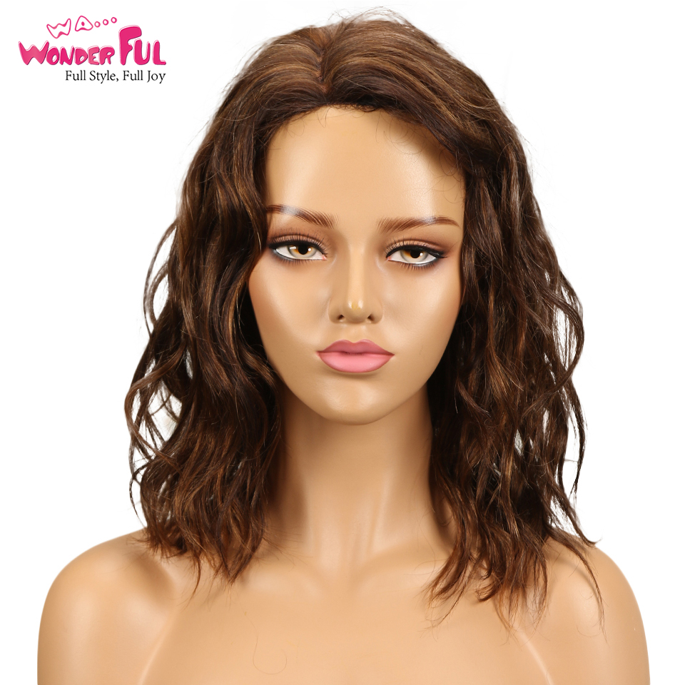 Natural Wave Human Hair Lace Wigs For Black Women Brazilian Remy Hair Wet And Wavy L Part Lace Wig 14 Inch Free Shipping