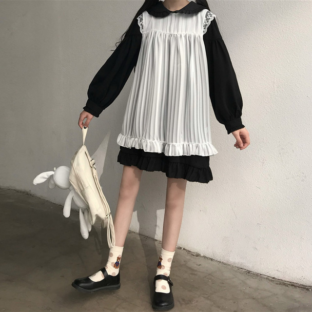 Sweet Cute Kawaii Girls Lolita Dress Princess Maid Vintage Ruffles Dresses Puff Sleeve Red Black Pink Women Dress Round Collar 5