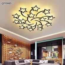 QIYIMEI-Lámpara LED de araña moderna, luz de interior atenuable blanca/negra para dormitorio, salón, habitación de niños, lámparas de fijación acrílica