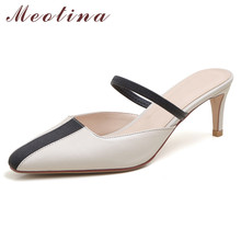 wetkiss plus size 33 43 high quality 2018 genuine leather women slippers square low heel summer solid color mules women shoes Meotina Pumps Women Natural Genuine Leather High Heel Mules Shoes Square Toe Thin Heels Lady Footwear Summer Black Beige Size 40