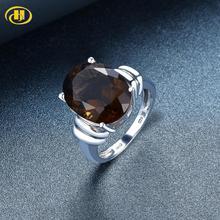Hutang 16x12mm אירוסין טבעת 8.97ct טבעי סמוקי קוורץ מוצק 925 כסף סטרלינג תכשיטי חתונה לנשים