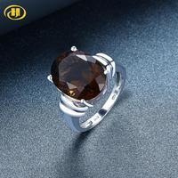 Hutang 16x12mm Engagement Ring 8.97ct Natural Smoky Quartz Solid 925 Sterling Silver Wedding Fine jewelry for Women