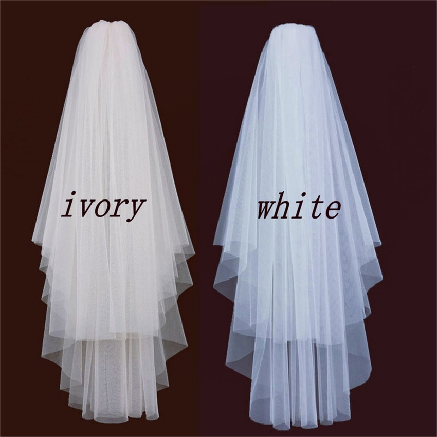 Fashion White Short bridal veil two layer 75cm with comb Ivory veils for wedding party tulle veiling 2019 new arrival yashmac