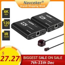 2020 4K HDMI Extender IR 120m HDMI Extender RJ45 3D HDMI Extender משדר מקלט מעל Cat5e/Cat6 כבל עבור PS4 Apple TV