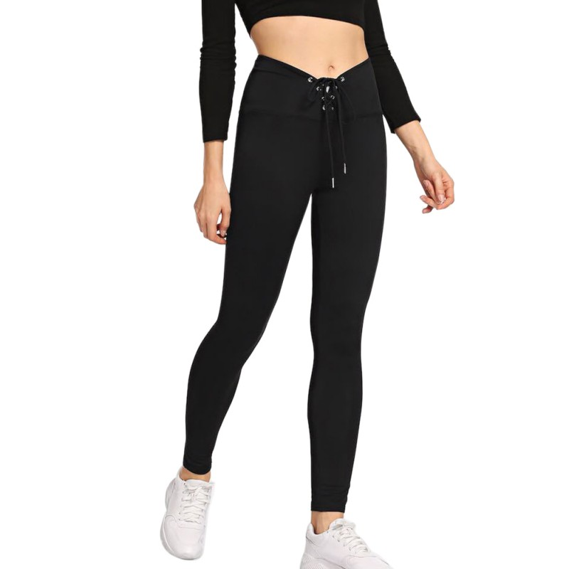 Fashion Trend Black Joggers Sweatpants For Women High Waist Comfy Skinny Leggings Drawstring Trousers