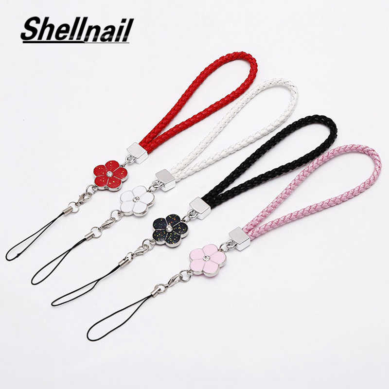 Shellnail PU Leather Mobile Phone Strap Smart Phone Key Holder Ring Flower Lanyard Phone Accessory Cord Phone Hand Rope Keychain