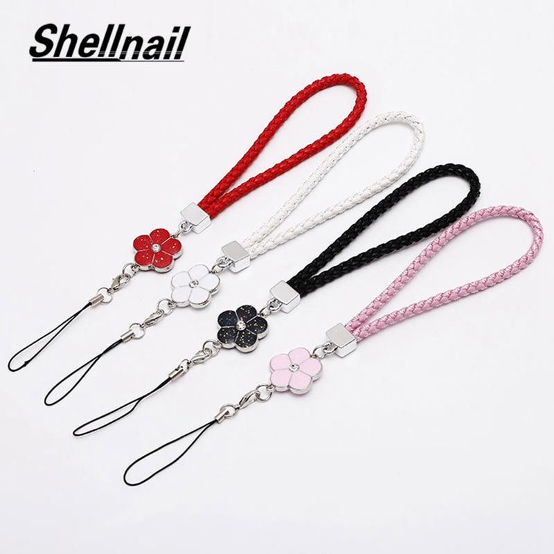 Shellnail PU Leather Mobile Phone Strap Smart Phone Key Holder Ring Flower Lanyard Phone Accessory Cord Phone Hand Rope Keychain