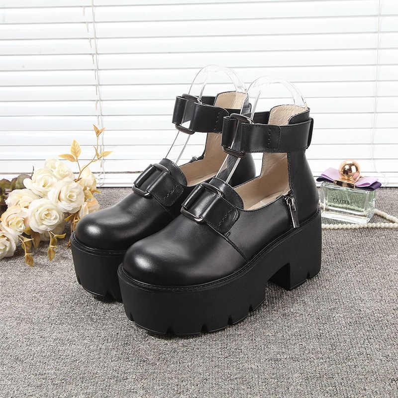 Nuevos Zapatos De plataforma De cuero genuino Mujer moda bloque alto tacón Punk Zapatos negros bombas Vintage punta redonda Zapatos De Mujer 2019