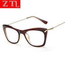 ZT Women Lovely Cat Eye Glasses Frames Print Frame Cateye Eyewear Lady Sexy Eyeglasses Optical Metallic Legs
